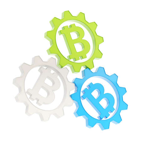 crypto: Three plastic cogwheel gears with a bitcoin peer-to-peer crypto currency signs inside composition isolated over white background Stock Photo