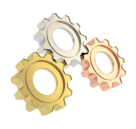 Set of a golden, silver and bronze cogwheel gears isolated over white background Stock Photo