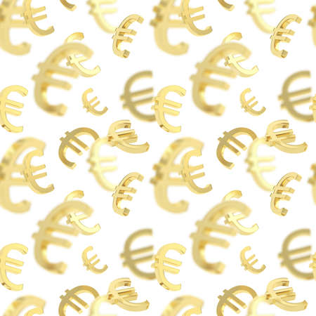 Seamless background texture pattern made of golden euro currency signs over white photo