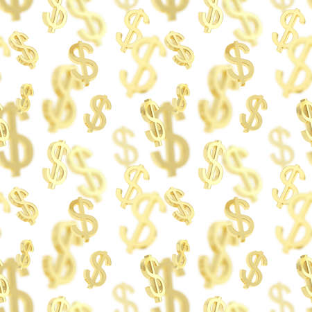 Seamless background texture pattern made of golden usd dollar currency signs over white photo