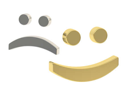 miserable: Happy and miserable 3d smiles isolated over white background