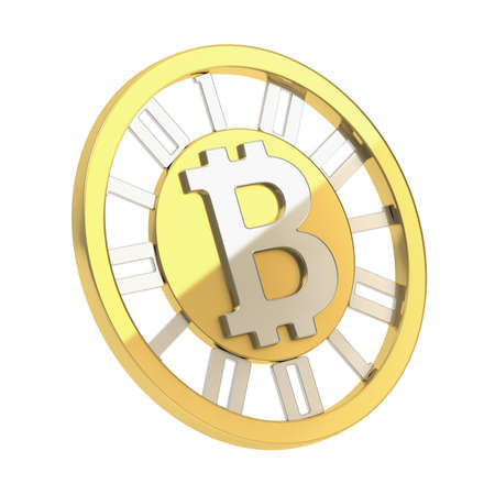 Bitcoin crypto peer-to-peer currency golden coin isolated over white background photo
