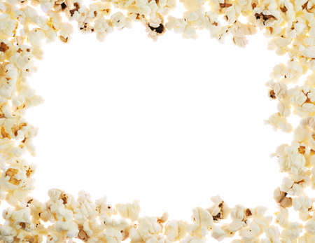 Frame made of popcorn over the white background photo