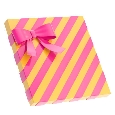 Wrapped yellow  gift box with a purple magenta bow and ribbon isolated over white background, 3d render illustration illustration