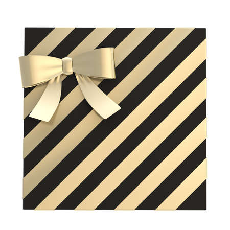 Wrapped  black gift box with a golden bow and ribbon isolated over white background, 3d render illustration illustration