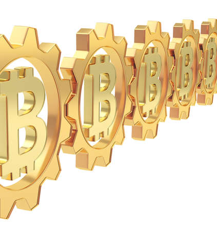 crypto: Row of a golden gears with a bitcoin peer-to-peer crypto currency sign inside over white background