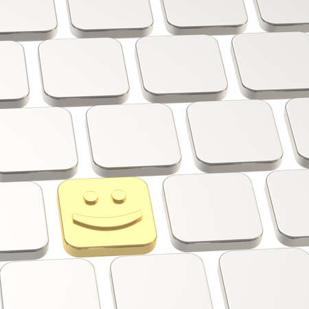 Happy smile golden button among other keyboard buttons photo