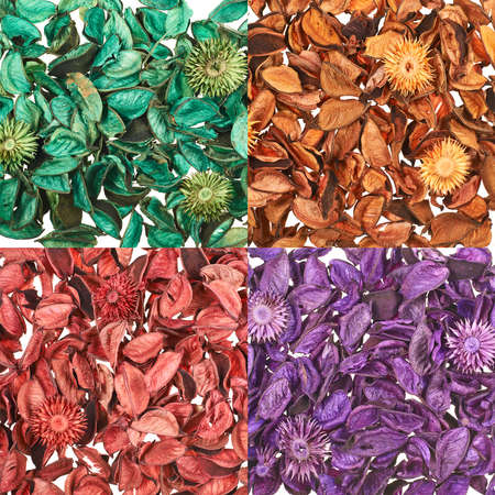 medley: Surface covered with medley potpourri, set of four color versions, violet, red, orange, green