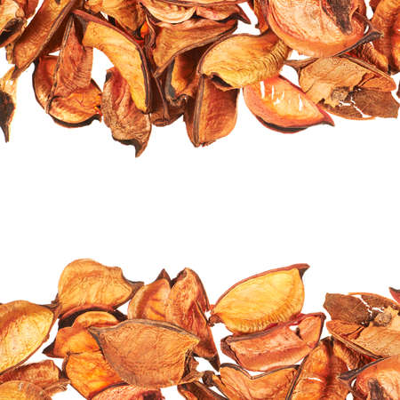 medley: Medley orange potpourri leaves copyspace background composition over white foreground