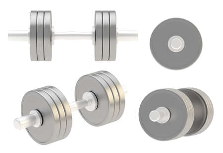 adjustable dumbbell: Adjustable weight metal dumbbell isolated over white background, set of four foreshortenings
