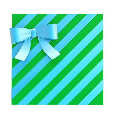 Wrapped green gift box with a blue metallic bow and ribbon isolated over white background, 3d render illustration illustration