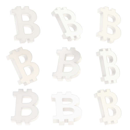 crypto: Bitcoin white plastic peer-to-peer digital crypto currency sign render isolated over white background, set of nine foreshortenings Stock Photo