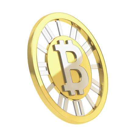 crypto: Bitcoin crypto peer-to-peer currency golden coin isolated over white background