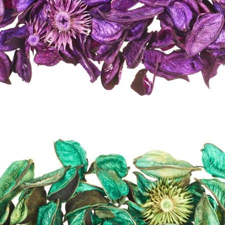 medley: Medley violet and green potpourri leaves copyspace background composition over white foreground Stock Photo