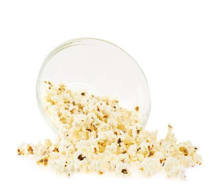 overturn: Capovolgere ciotola di popcorn isolato su sfondo bianco Archivio Fotografico