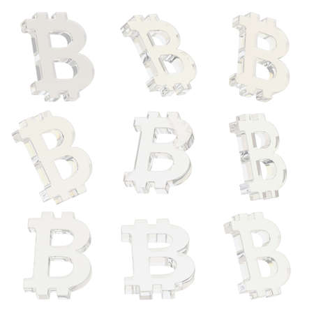 crypto: Bitcoin transparent glass peer-to-peer digital crypto currency sign render isolated over white background, set of nine foreshortenings
