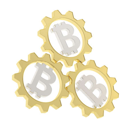 crypto: Three golden cogwheel gears with a silver bitcoin peer-to-peer crypto currency signs inside composition isolated over white background Stock Photo