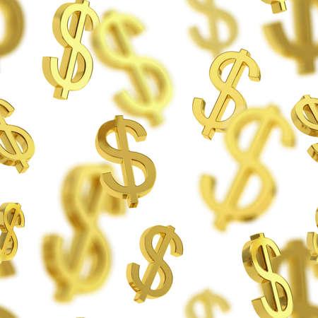 Nahtlose Hintergrund-Textur-Muster von goldenen USD-Dollar-Währung Zeichen über weißem gemacht