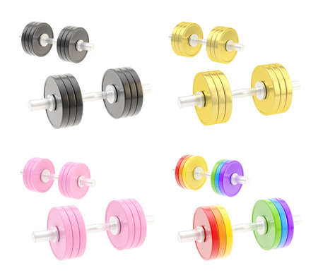 Two adjustable metal dumbbell composition isolated over white background, set of four different color sets