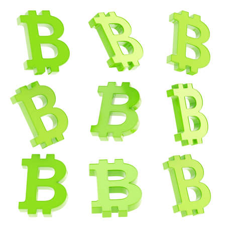 crypto: Bitcoin green peer-to-peer digital crypto currency sign render isolated over white background, set of nine foreshortenings