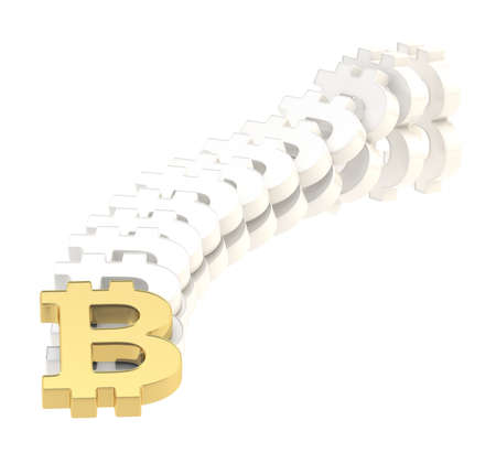 Bitcoin signs falling down as a domino effect, composition isolated over white background photo
