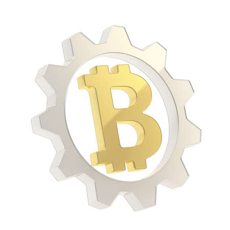 crypto: Bitcoin peer-to-peer crypto currency golden sign inside of a silver cogwheel gear isolated over white background