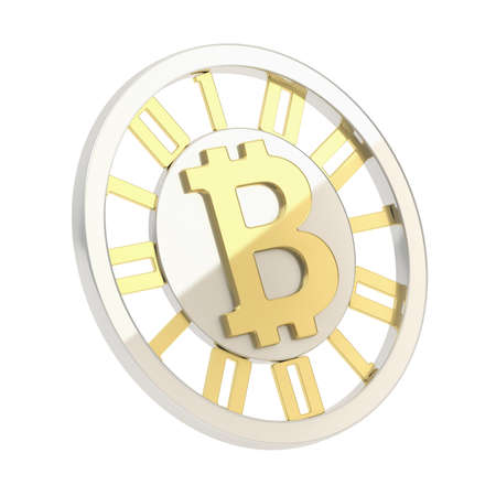 crypto: Bitcoin crypto peer-to-peer currency coin isolated over white background Stock Photo