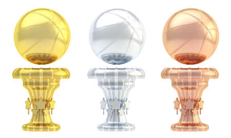 Award basketball sport trophy set of golden, silver and bronze cups isolated over white background photo