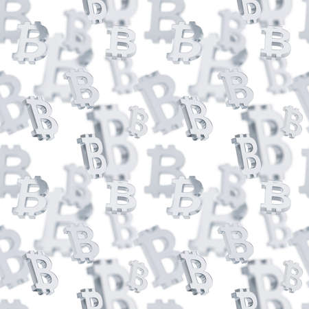 crypto: Seamless texture pattern made of silver bitcoin peer-to-peer crypto currency signs over white Stock Photo