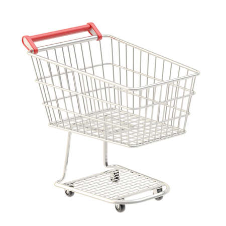 Metal shopping cart isolated over the white  photo