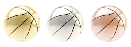 Basketball ball 3d render isolated over white background, set of three  golden, silver and bronze