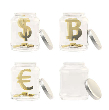 empty jar: Currency sign with coins in a jar isolated over white, set of four, golden dollar, euro, bitcoin signs and empty jar