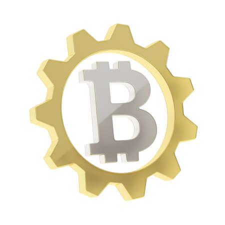 crypto: Bitcoin silver peer-to-peer crypto currency sign inside of a golden cogwheel gear isolated over white