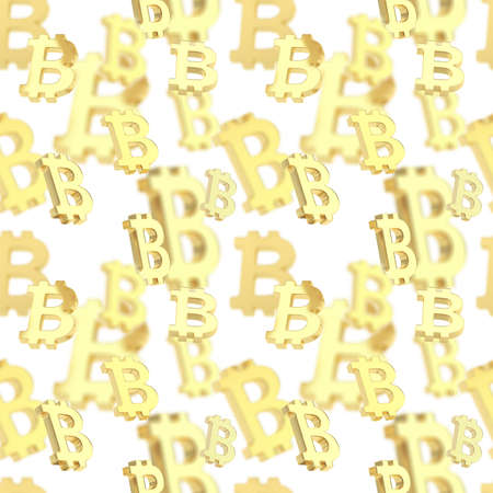 crypto: Seamless texture pattern made of golden bitcoin peer-to-peer crypto currency signs over white