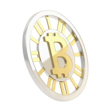 crypto: Bitcoin crypto peer-to-peer currency coin isolated over white Stock Photo