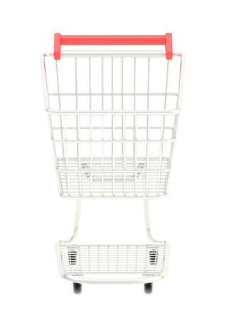 carretilla de mano: Las compras del metal de la compra aislados sobre el, de frente blanco