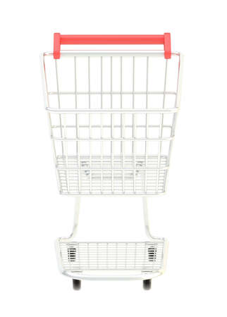 Metal shopping cart isolated over the white , front view