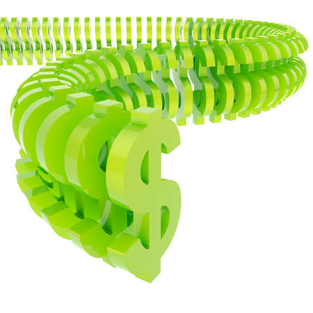 Dollar symbol glossy green signs arranged in line isolated over the white background photo