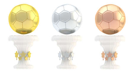 Award football, soccer sport trophy set of golden, silver and bronze cups isolated over white background photo