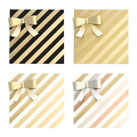 Wrapped gift box with a bow and ribbon isolated over white background, 3d render illustration, set of four color combinations illustration