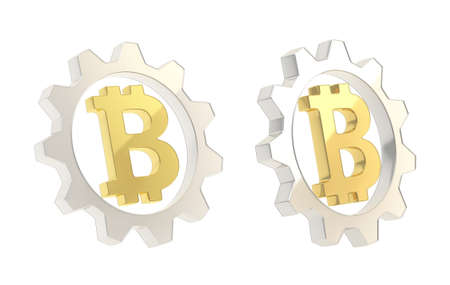 crypto: Bitcoin peer-to-peer crypto currency golden sign inside of a silver cogwheel gear isolated over white background, set of two foreshortenings
