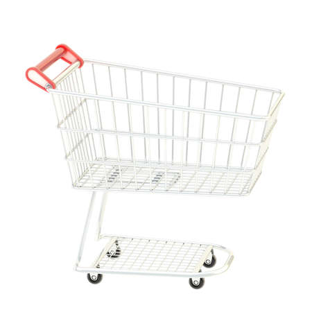Metal shopping cart isolated over the white background photo