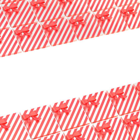 Surface covered with red gift boxes as a background festive composition with an empty space left in the middle photo