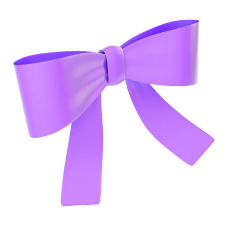 Decorational violet glossy ribbon bow isolated over white background photo