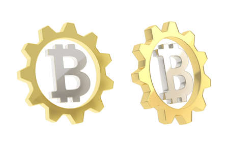 crypto: Bitcoin silver peer-to-peer crypto currency sign inside of a golden cogwheel gear isolated over white background, set of two foreshortenings Stock Photo