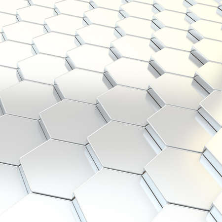 metal composition: Abstract background composition made of chrome metal hexagon shapes Stock Photo