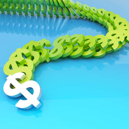 domino effect: Dollar green currency symbols falling in domino effect over a blue glossy surface as a financial background composition Stock Photo