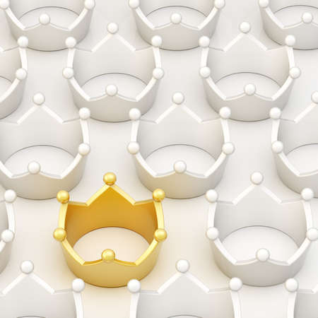 Golden crown among white ones over a white surface as a background composition Stock Photo