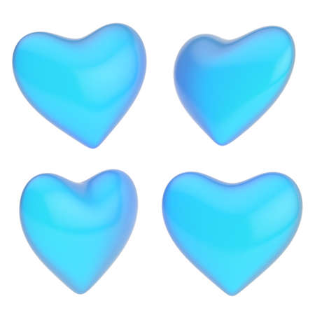 Glossy blue heart shape isolated over the white background, set of four foreshortenings photo