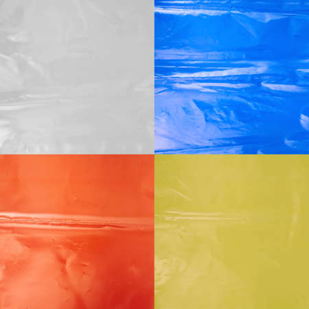 Creased colored plastic polyethylene film texture, set of four images photo